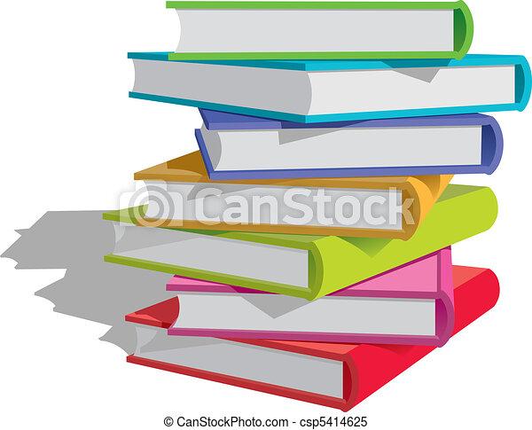 Bücherstapel clipart schwarz weiß  Clipart Vektor von buecher, stapel - Stack, von, mehrfarbig ...