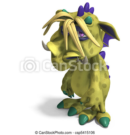 funny and colorful cartoon monster. 3D rendering and shadow over white - csp5415106