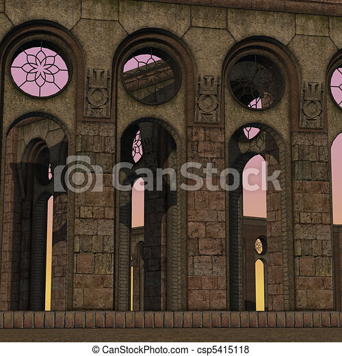 fantasy temple at dawn. 3D rendering of a fantasy theme for background usage. - csp5415118