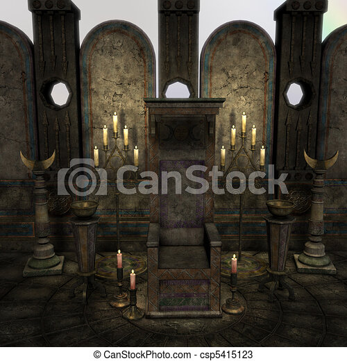 archaic altar or sanctum in a fantasy setting. 3D rendering of a fantasy theme. ideal for background usage. - csp5415123
