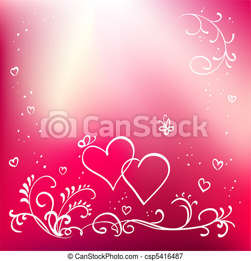 Abstract painted vector floral background, valentine's day elements for design - csp5416487