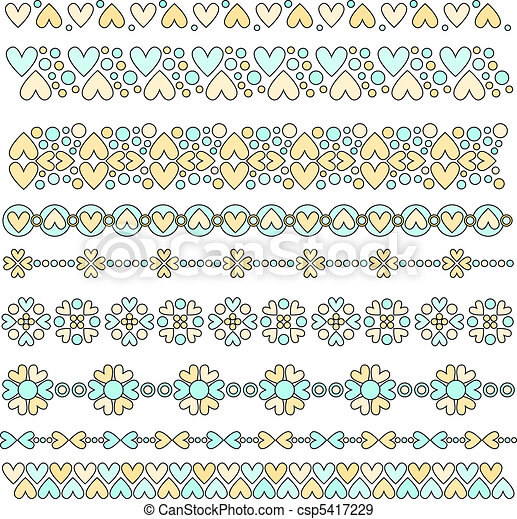 Vector Pastel Heart Trims - csp5417229