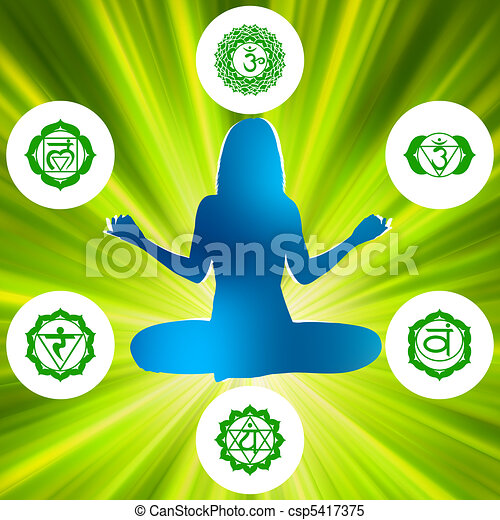 Six Chakras and spirituality symbols. EPS 8 - csp5417375