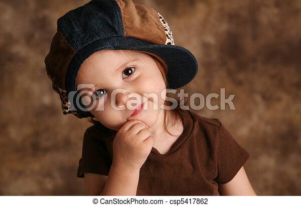 Toddler girl modeling - csp5417862