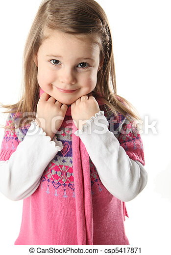 Cute preschool girl with scarf - csp5417871