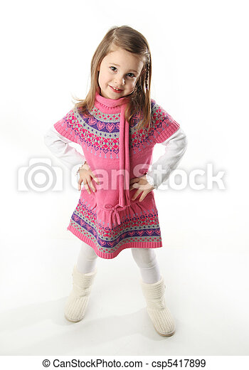 Cute toddler girl wearing a scarf - csp5417899
