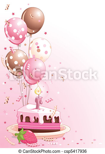 Birthday Cake With Balloons - csp5417936