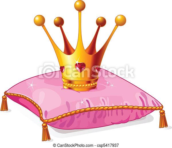 Princess crown on the pink pillow - csp5417937