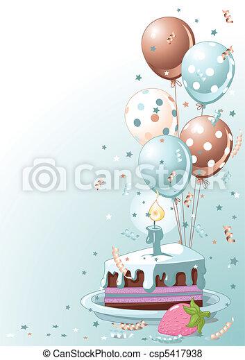Slice Of  Birthday Cake With Ballo - csp5417938