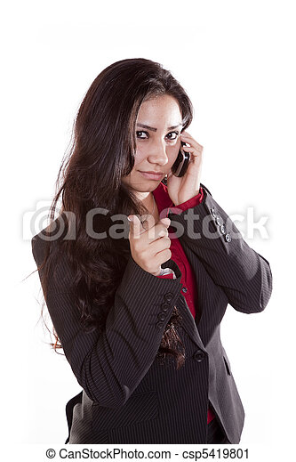Business woman on phone accusing - csp5419801