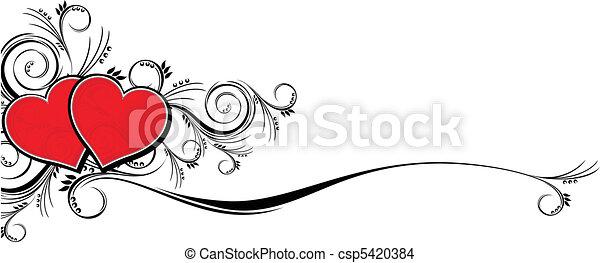 ornamental love hearts - csp5420384