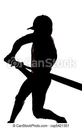 Silhouette baseball swing beginning - csp5421351