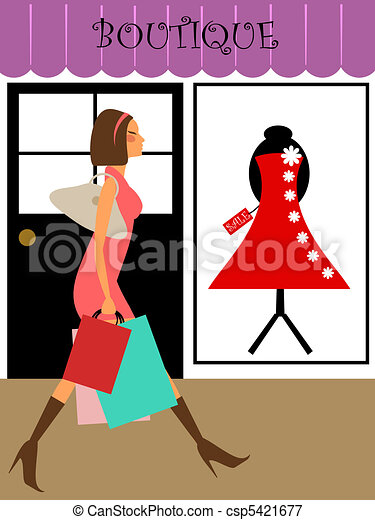 Woman Shopper Walking in Boutique Store - csp5421677