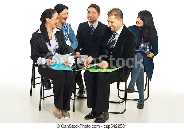 Laughing business people at conference