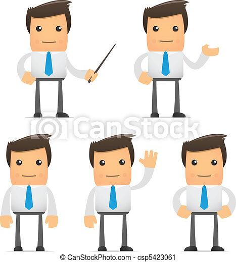 Vector Clip Art of set of funny cartoon office worker in various ...