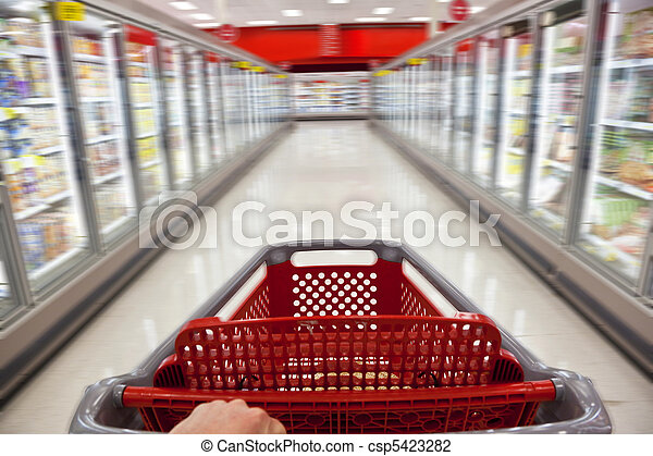 Fast Food Concept Motion Blur Shopping Trolley in Supermarket - csp5423282