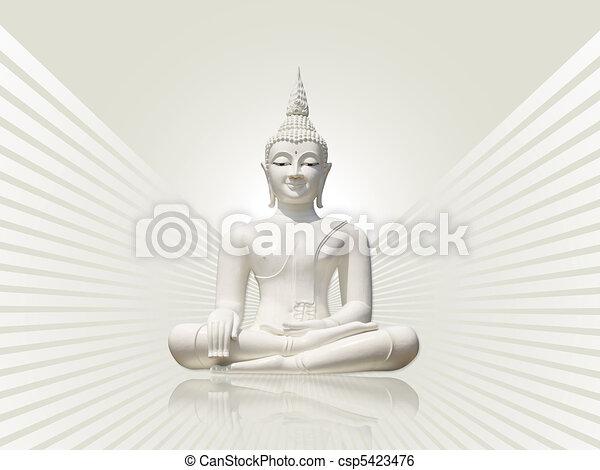 Buddha, grey white rays background - csp5423476