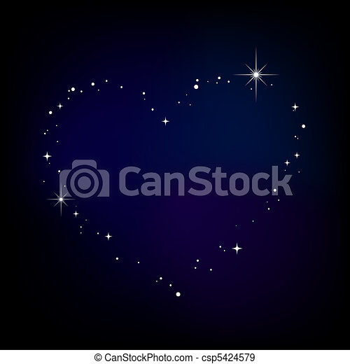 Star heart in night sky - csp5424579
