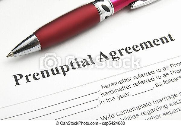 closeup of a marriage prenuptial agreement - csp5424680