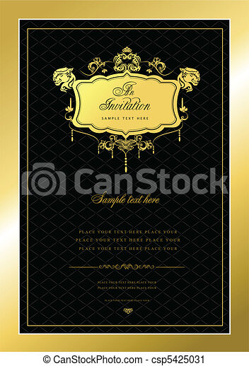 Invitation gold card. Wedding or V - csp5425031