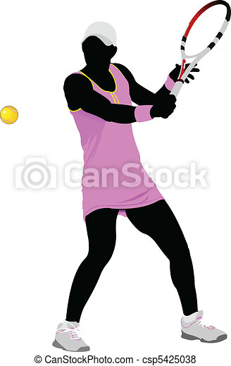 Tennis player. Colored Vector illu - csp5425038