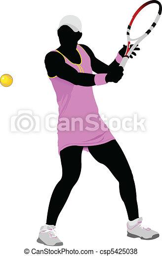 Tennis player. Colored Vector illu - csp5425038
