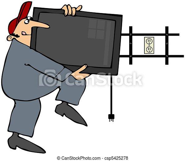 Man Installing Flatscreen TV - csp5425278