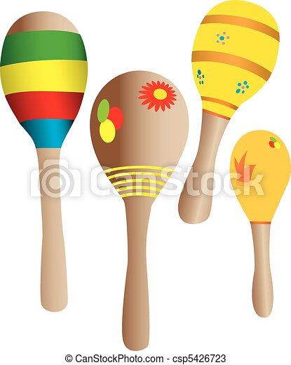 Four toy maracas in many colors. - csp5426723