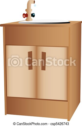 Wooden cabinet and sink - csp5426743