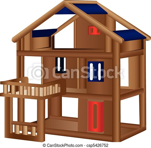 Wood doll house - csp5426752