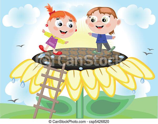 Children and sunflower - csp5426820