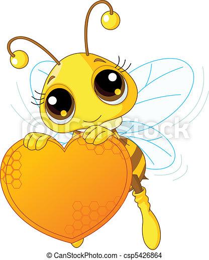 Cute bee holding a sweet  heart - csp5426864