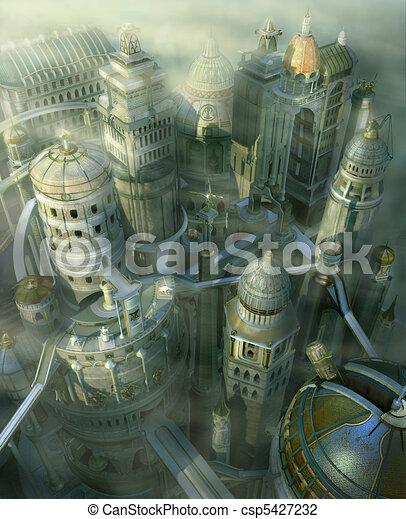 fantasia, città - csp5427232
