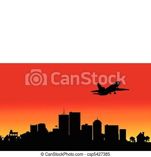 plane over the city four illustrati - csp5427385