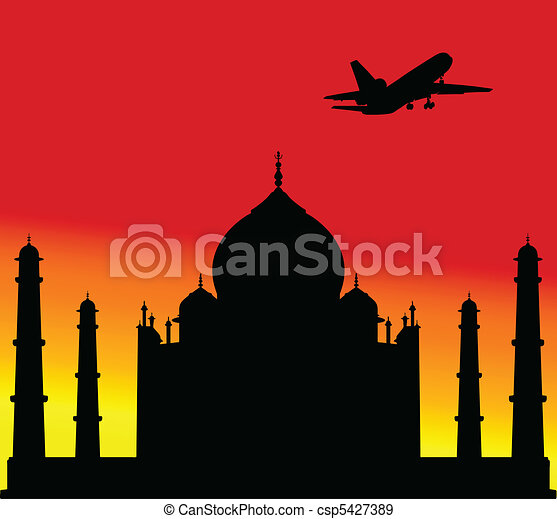 plane above the Taj Mahal one - csp5427389