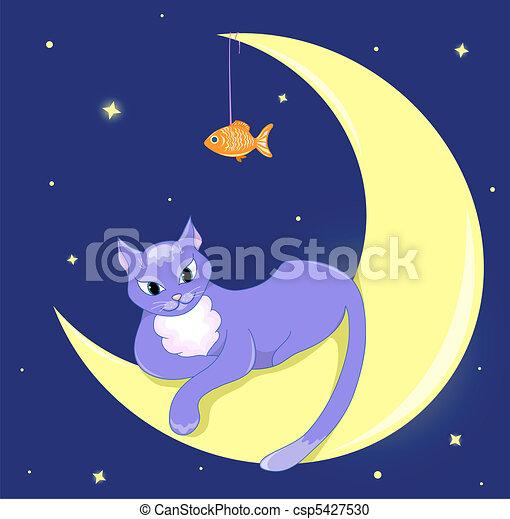 The cat lies on a half moon. - csp5427530