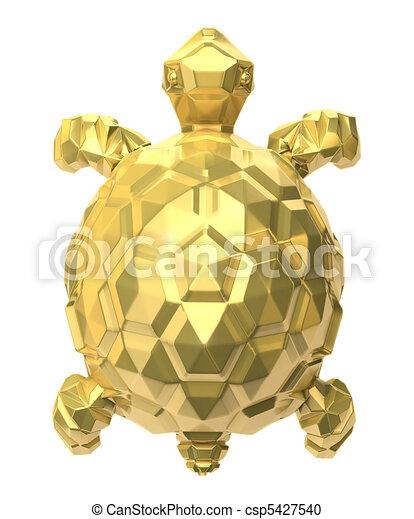 Illustration gold turtle on white 3d image stock illustration