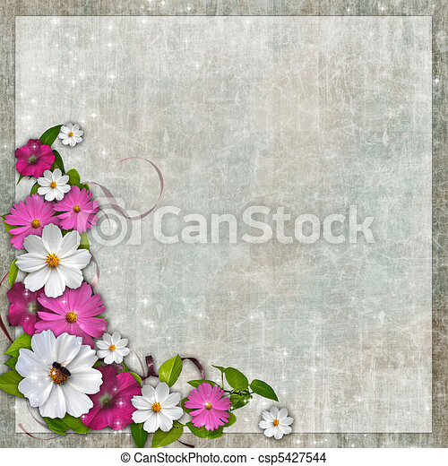 Card for the holiday with plant and flowers on the abstract background  - csp5427544