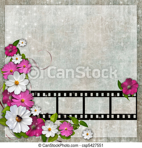 Card for the holiday with plant and flowers - csp5427551