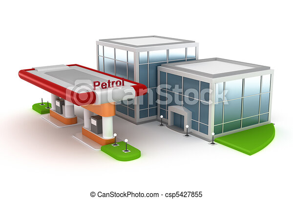 Gasoline Station and market in 3D - csp5427855