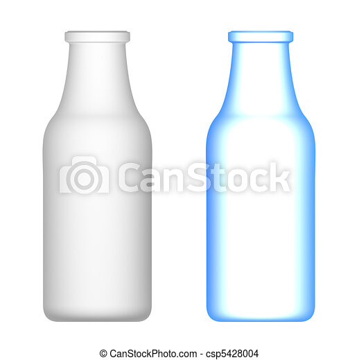 Milk Bottles isolated on white - csp5428004