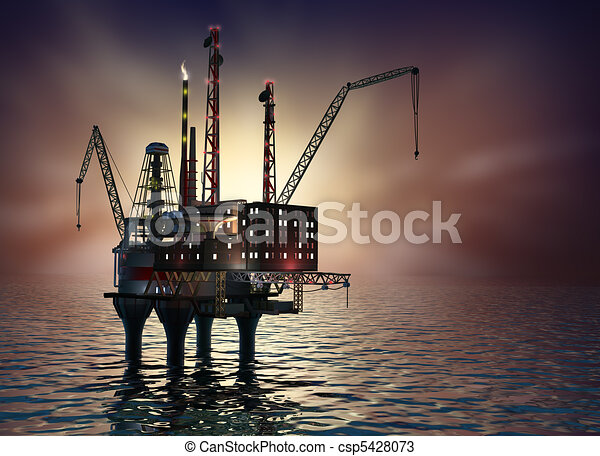 Drilling offshore Platform in night - csp5428073