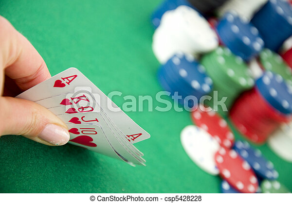 Gambling chips and cards - csp5428228