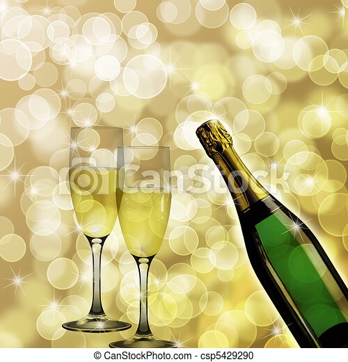 Champagne Bottle and Two Glasses Bokeh Background - csp5429290