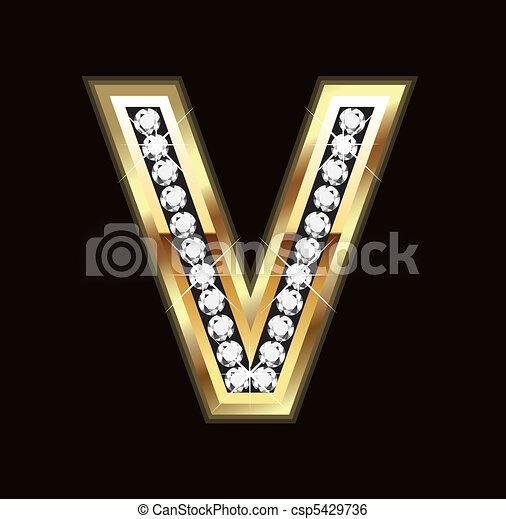 Bling letter V -