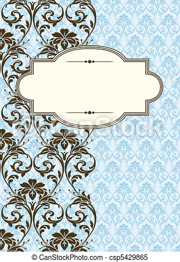 Vector Side Damask Pattern and Frame - csp5429865