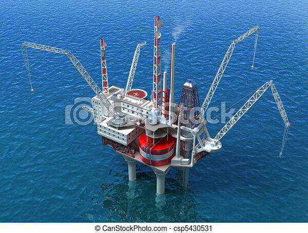 Sea Oil Rig Drilling Structure - csp5430531