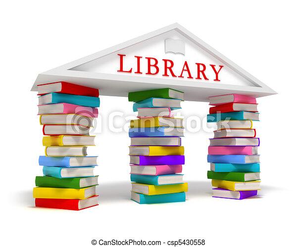 Library books icon on white - csp5430558