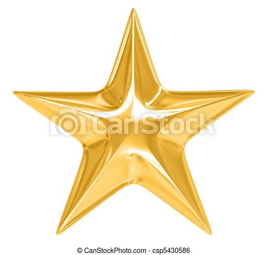 Gold Star on white background - csp5430586