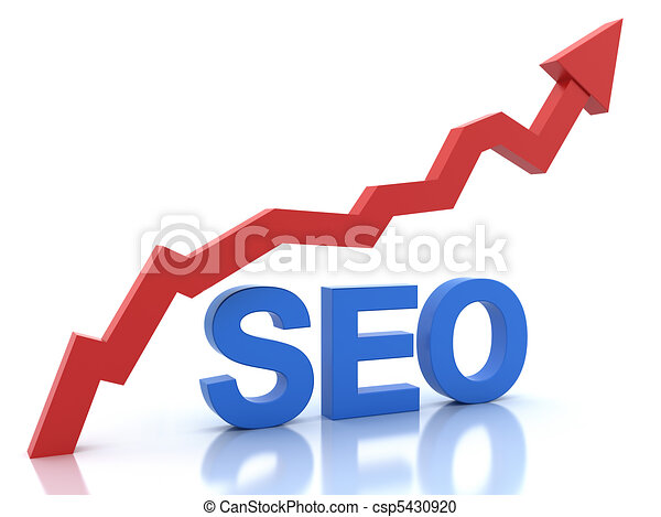 Seo in blue color and a graph - csp5430920